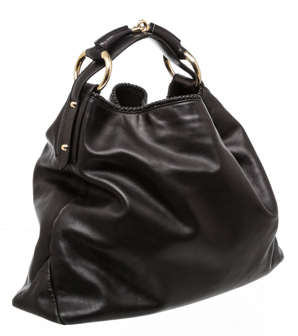 Gucci Black Leather Horsebit Hobo Handbag