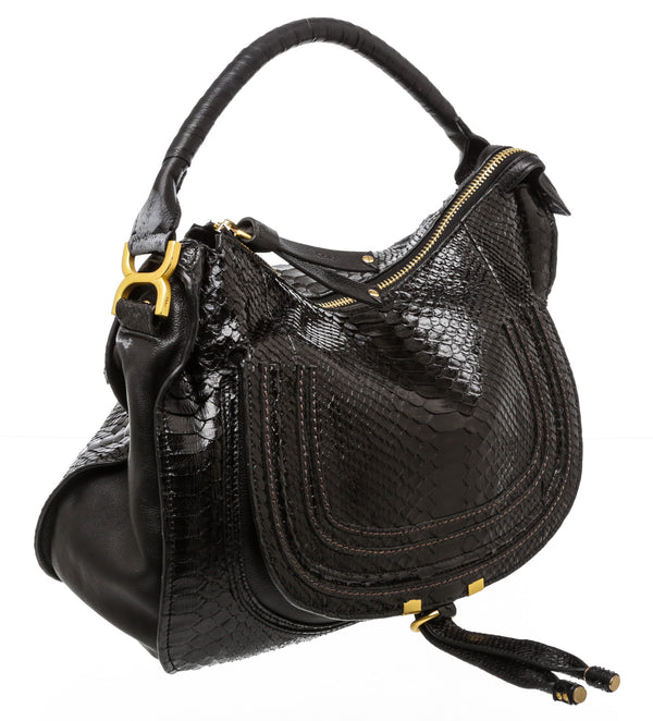 Chloe Black Watersnake Marcie Handbag