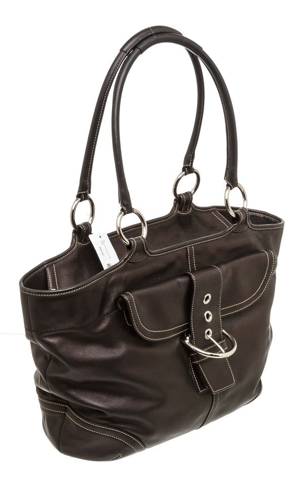 Coach Black Leather Soho Buckle Tote Bag