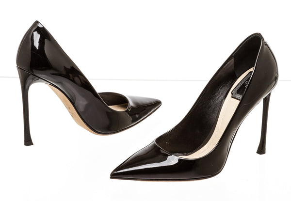 Christian Dior Black Patent Leather Pumps ( Size 38 )