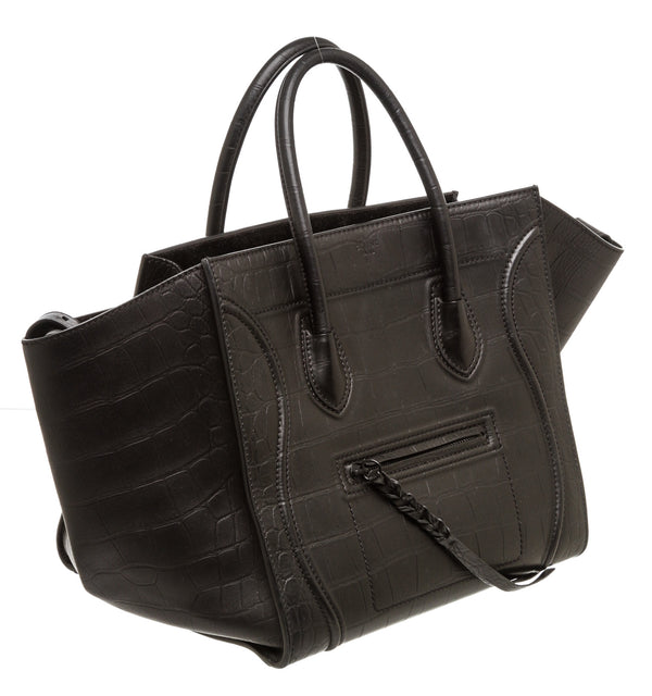 Celine Black Croc-Embossed Leather Phantom Luggage Tote Bag