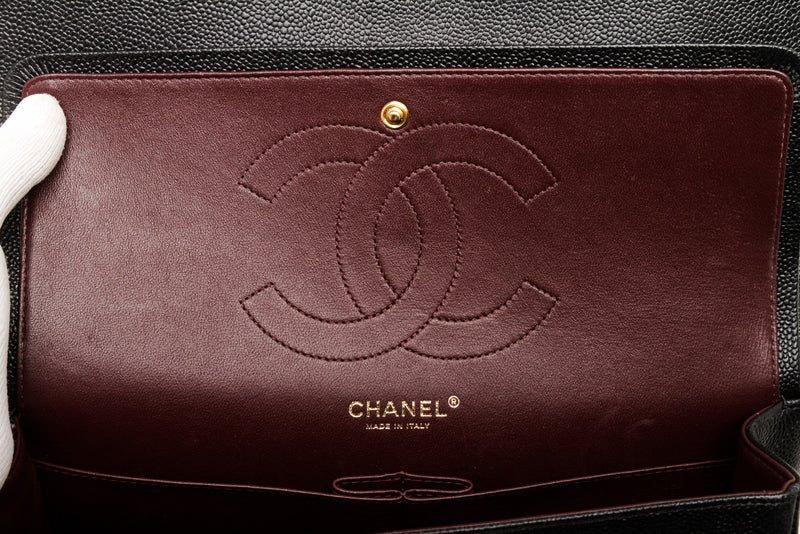 Chanel Black Caviar Leather Jumbo Classic Flap Bag GHW
