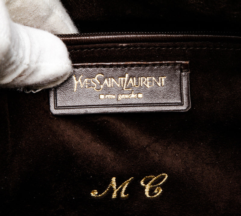 Yves Saint Laurent Brown Ostrich Downtown Tote Bag