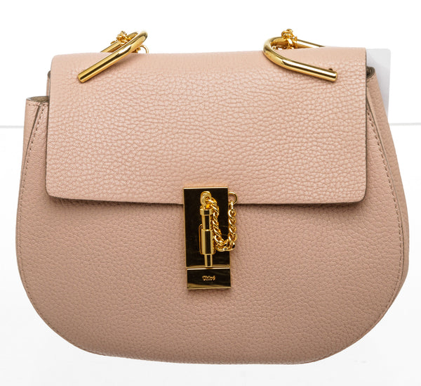 Chloe Cement Pink Pebbled Leather Drew Shoulder Bag