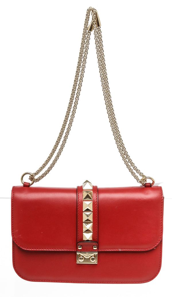 Valentino Red Leather Medium Glam Lock Flap Bag