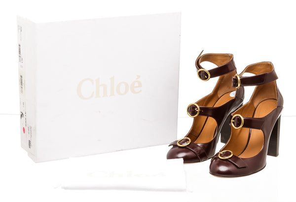 Chloe Purple Leather Three Buckle Heels ( Size 38.5 )