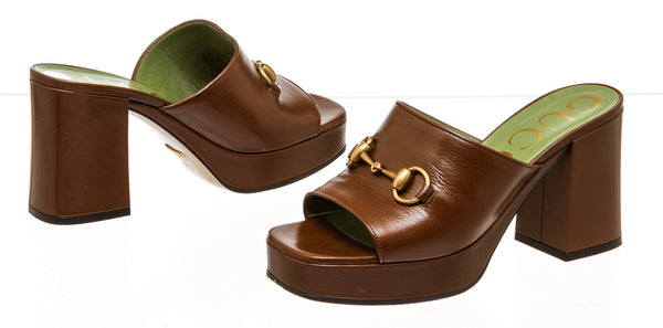 Gucci Brown Horsebit Block Mules ( Size 37.5 )
