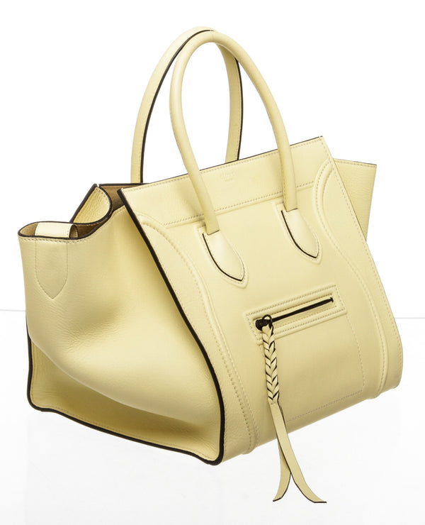 Celine Yellow Leather Phantom Luggage Tote Bag