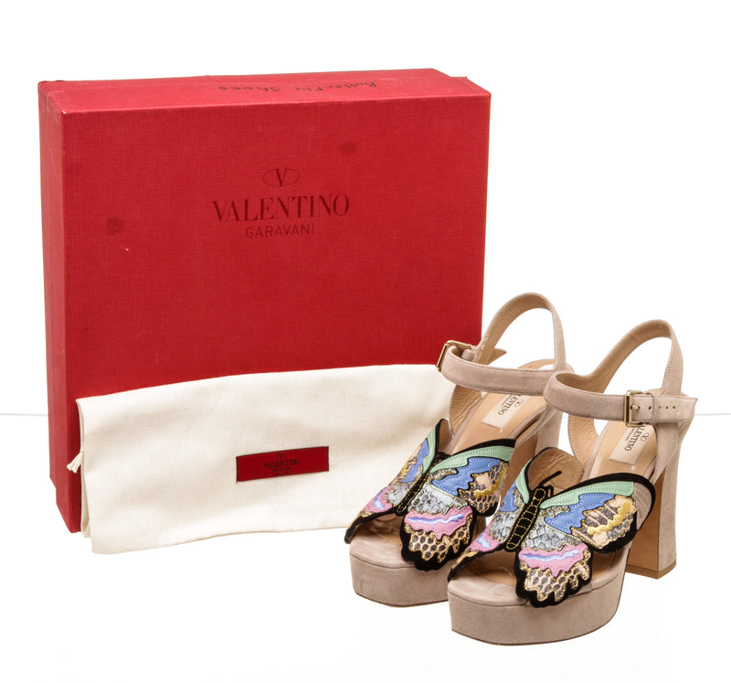 Valentino Pink Multicolor Butterfly Platform Sandals ( size 38 )