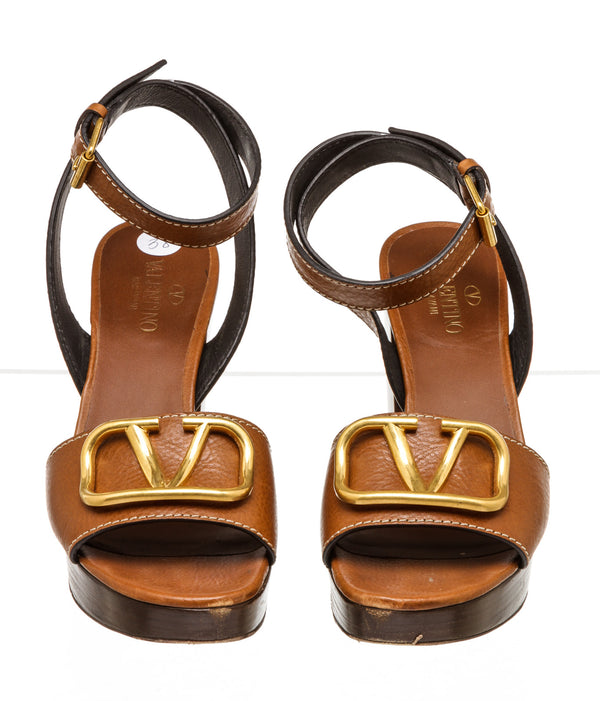 Valentino Brown Leather Vlogo Platform Sandals ( Size 38 )