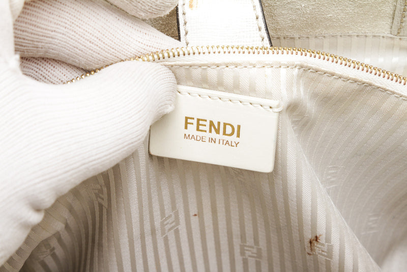 Fendi Light Gray Leather and Pony Hair 2Jours Shopping Tote Bag