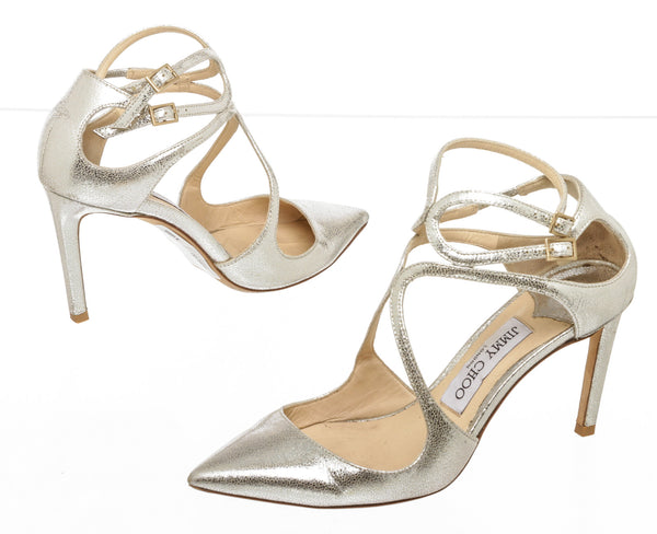 Jimmy Choo Metallic Gold Cracked-Leather 'Lancer' Pump (Size 36.5)