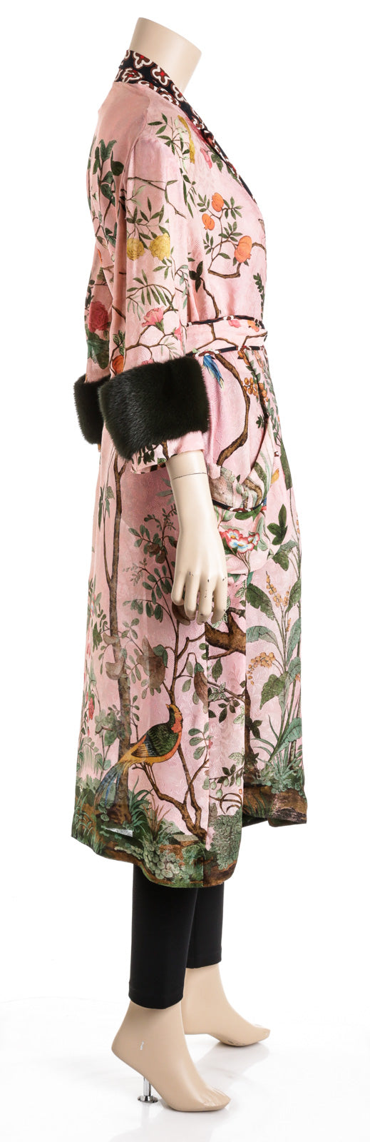 Gucci Floral Pink Coat with Mink Cuffs  (Size 36)
