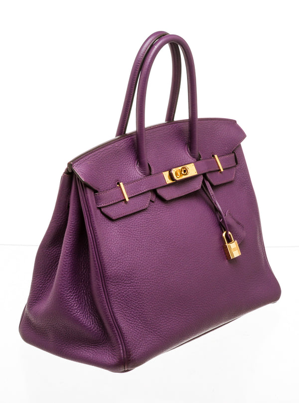 Hermes 35cm Anemone Togo Leather Birkin Bag with Gold Hardware