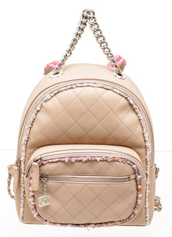 Chanel Beige Leather & Pink Tweed Limited Edition Backpack
