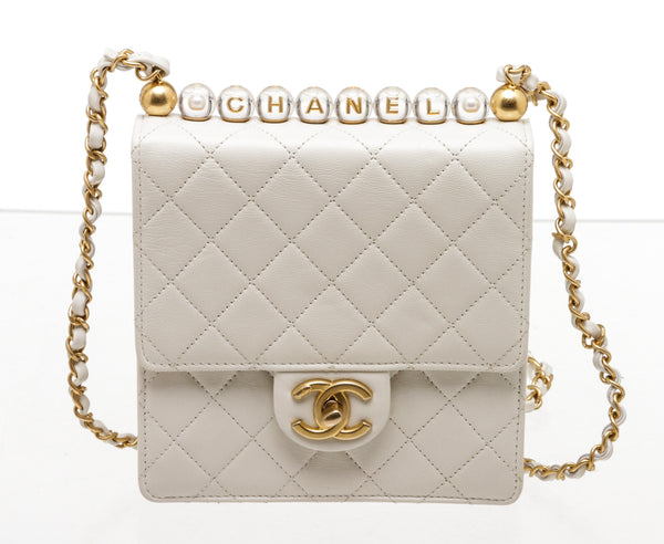 Chanel 2020 White Lambskin Quilted Chic Pearls Flap