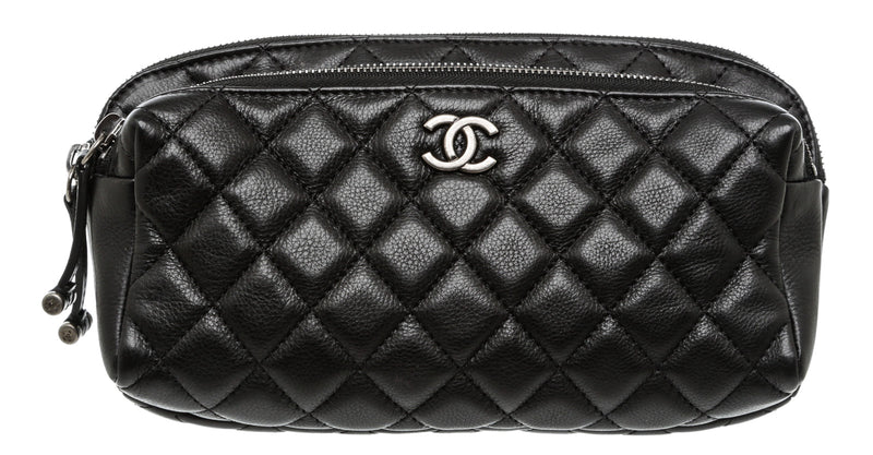 Chanel Black Caviar Quilted Waist Bag SHW