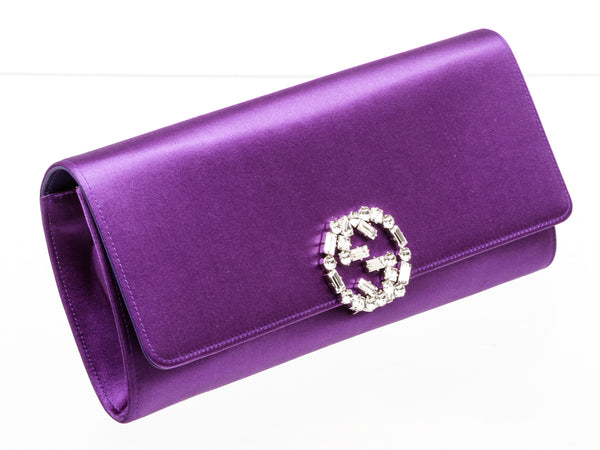 Gucci Purple Satin Crystal GG Broadway Long Clutch