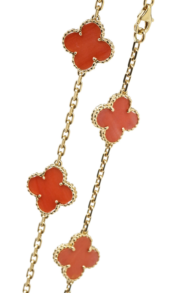 VCA Coral Alhambra 10 Station Necklace in 18k Gold