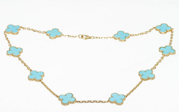 VCA Turquoise 10 Station Alhambra Necklace in Gold