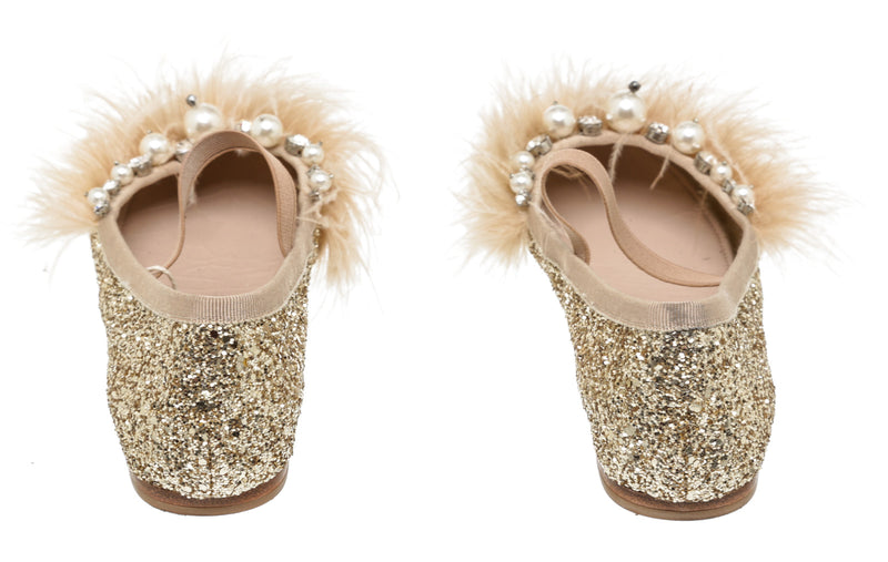 Miu Miu Gold Leather Glitter and Feather Embellished Ballet Flats (Size 37.5)