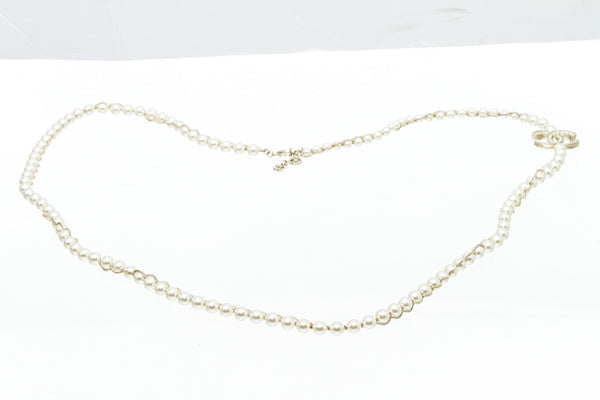 Chanel Large CC Pearl Necklace with Gold Chain