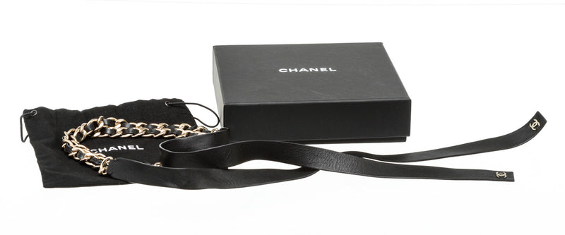 Chanel Black Leather and Gold Chain Tie Belt