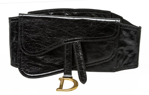Christian Dior Black Saddle Waist Belt Bag