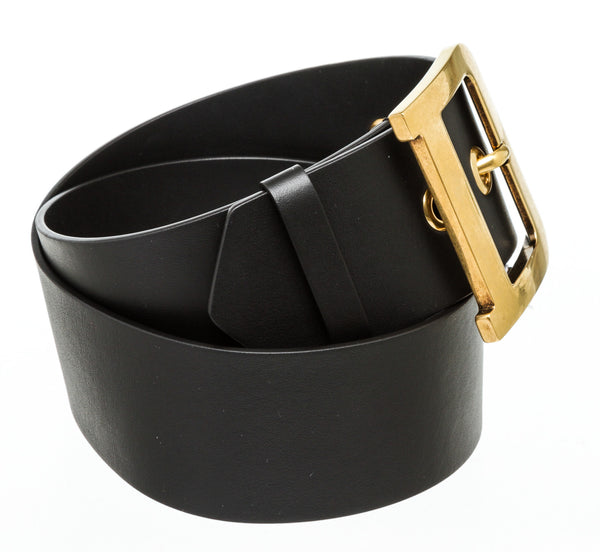 Christian Dior Black Leather Dior Quake Belt 80cm