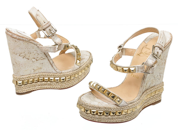 Louboutin White Cork Gold Stud Pyradiams Wedge Sandals (Size 36)