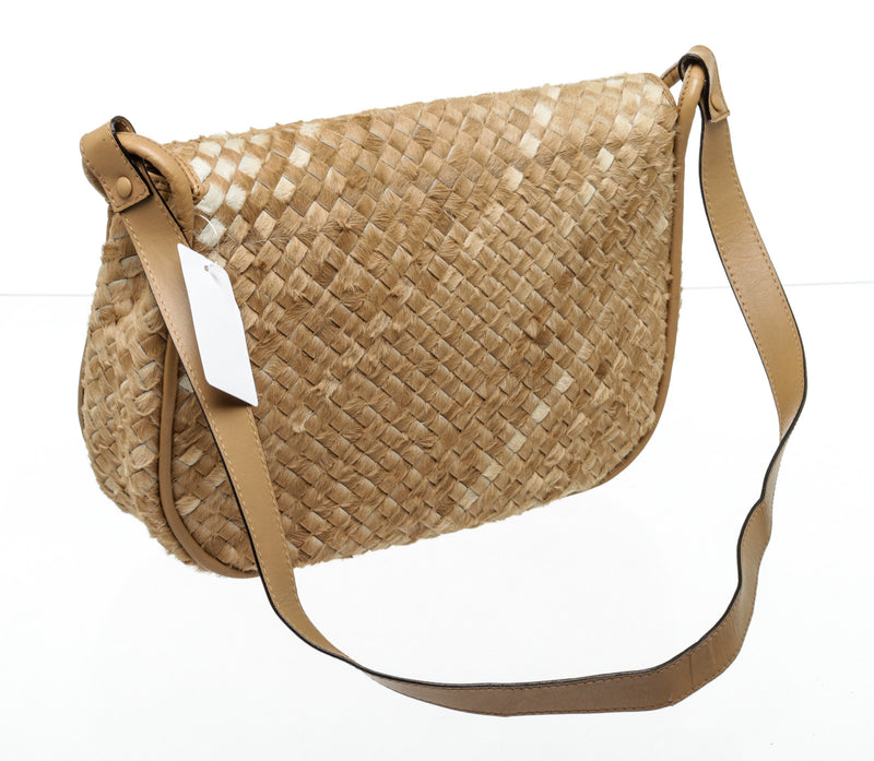 Bottega Veneta Cream & Brown Woven Pony Hair Flap Bag