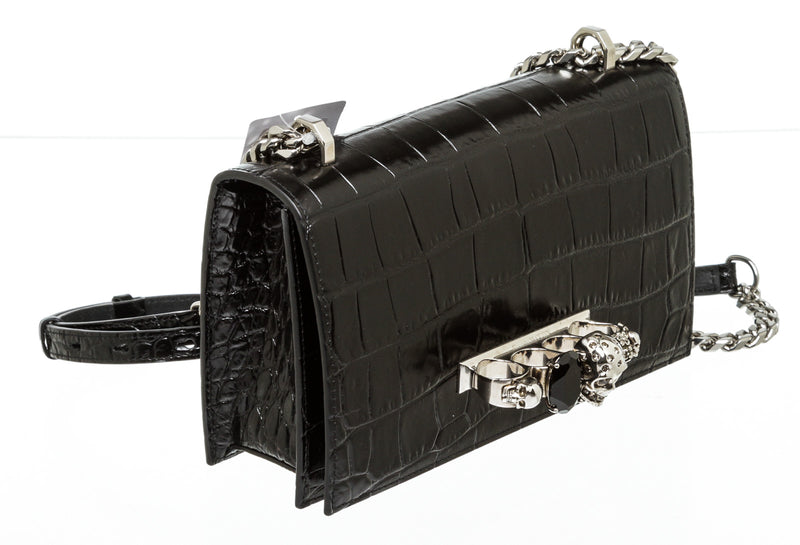Alexander McQueen Black Leather Jewelled Skull Satchell