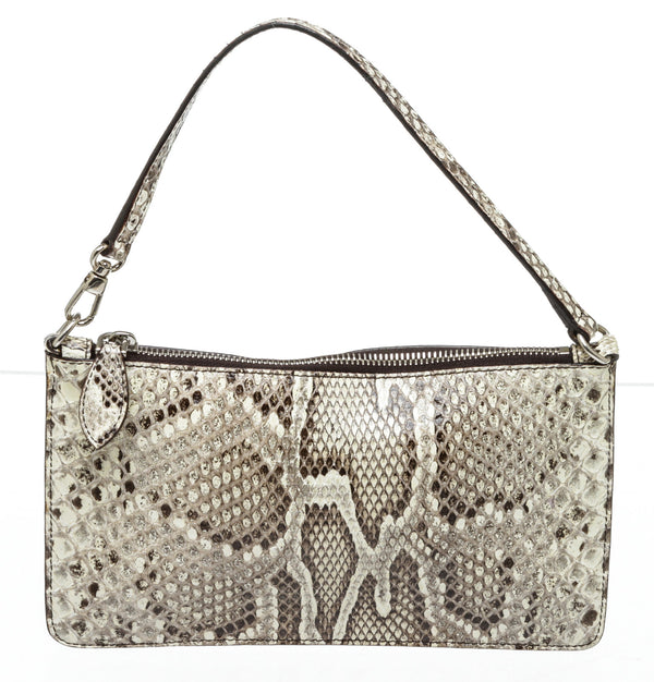 Alaia Gray Snakeskin Shoulder Bag