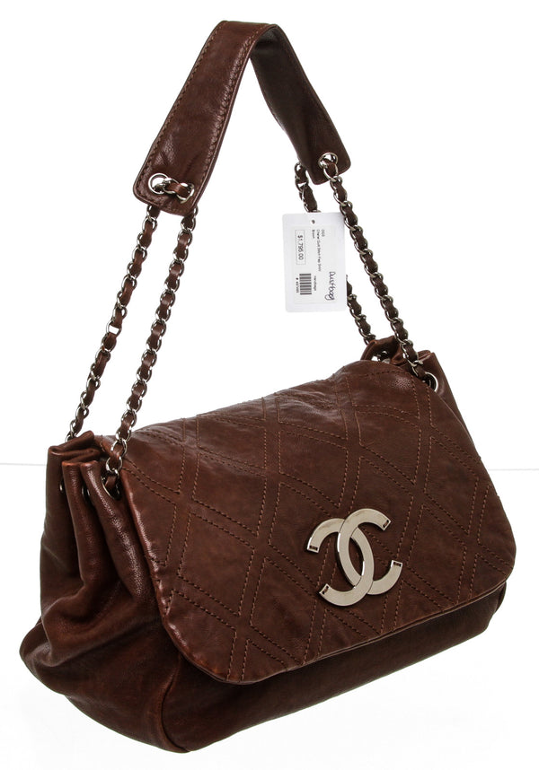 Chanel Brown Calfskin Diamond Stitch Accordion Flap Bag