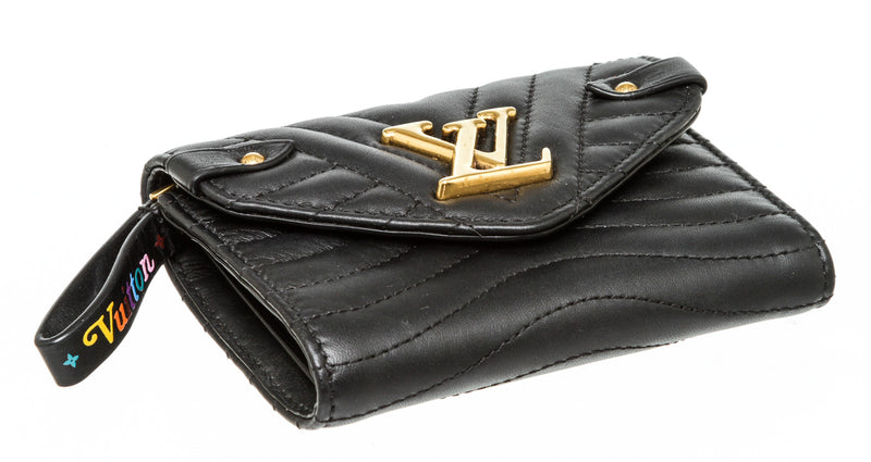 Louis Vuitton Black Leather Wave Compact Wallet Gold Hardware