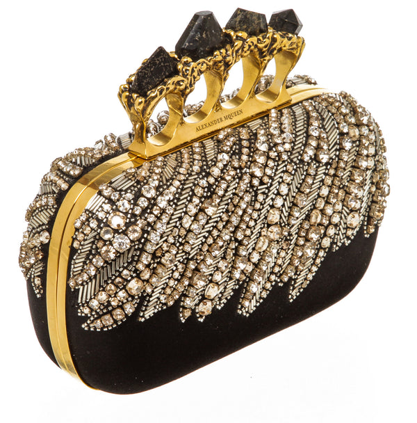 Alexander Mcqueen Black Satin Four-Ring Beaded Box Clutch