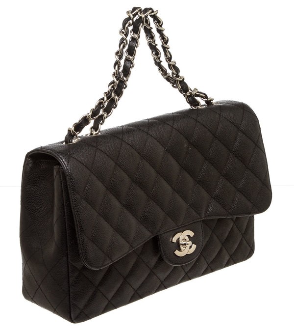 Chanel Black Caviar Leather Jumbo Classic Flap Bag SHW