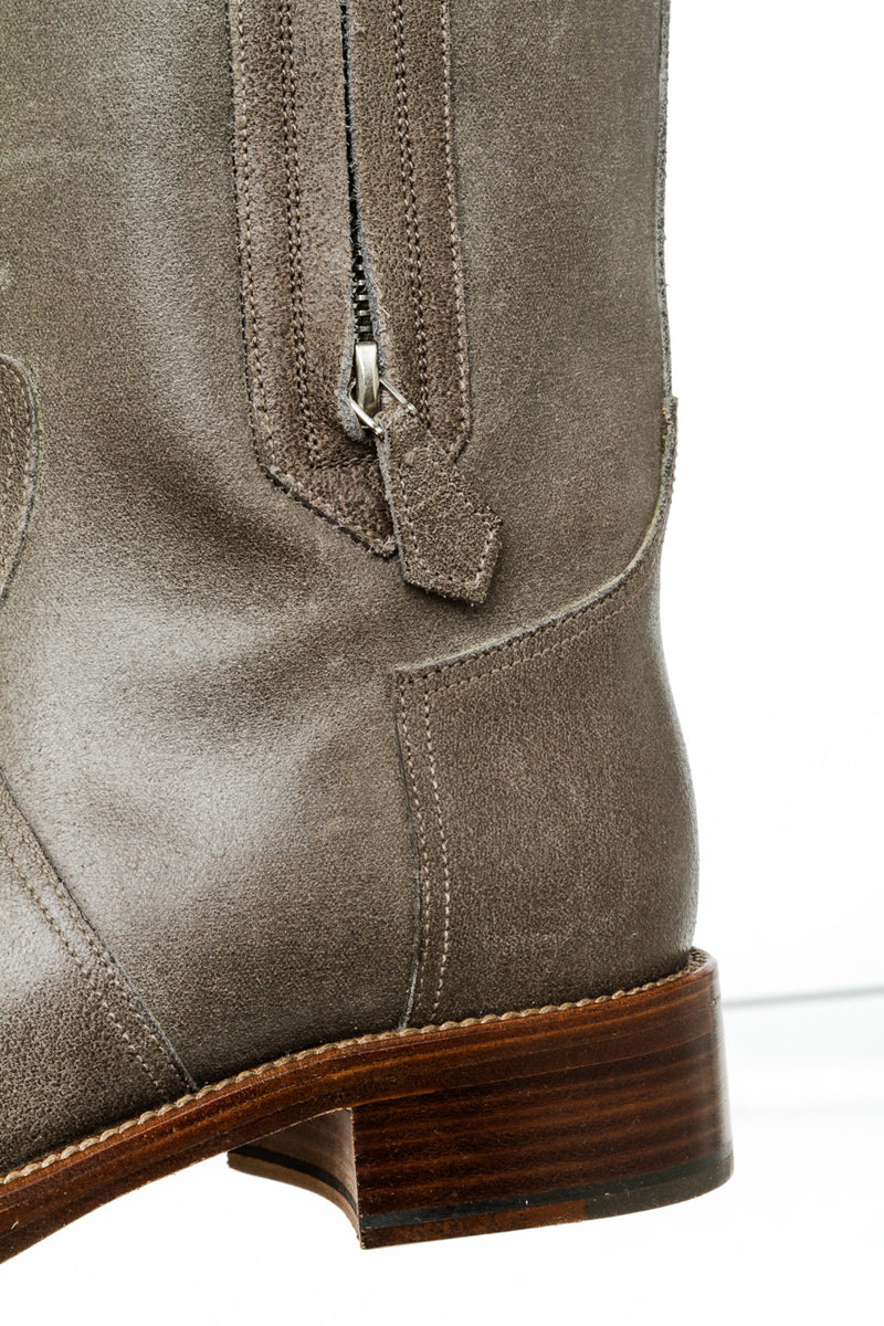 Hermes Gray Leather Zippered Tall Boots ( Size 37 )