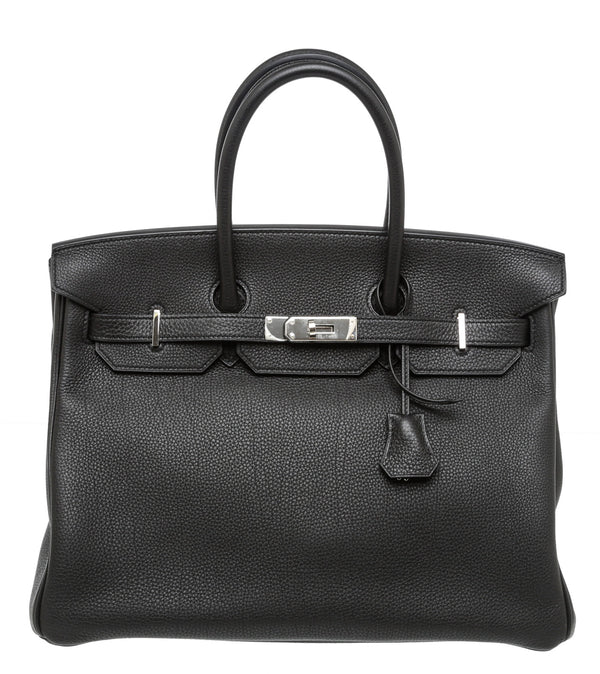 Hermes Black Noir Togo Leather Birkin 35cm PHW Bag