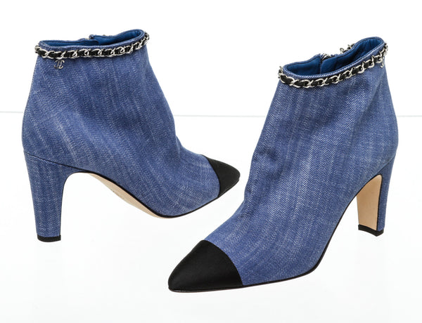 Chanel Blue Denim Black Captoe Boots Size 37.5