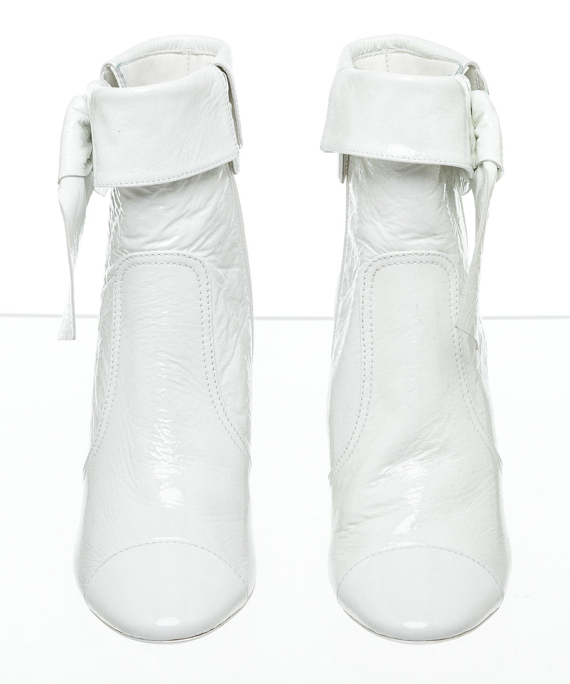 Chanel White Patent Leather Boots Size 37