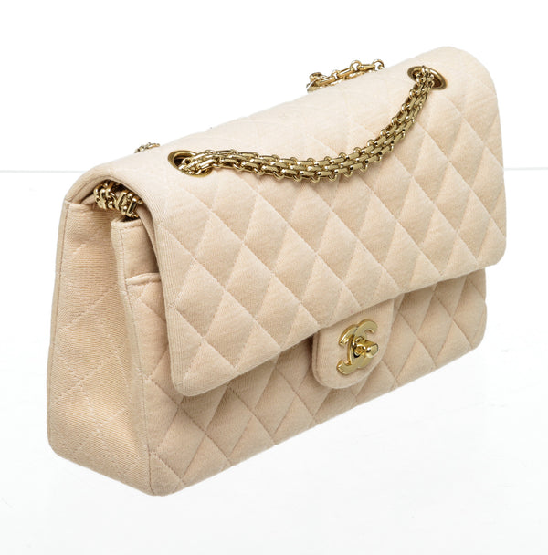 Chanel Beige Jersey Knit Medium Classic Double Flap Gold Hardware