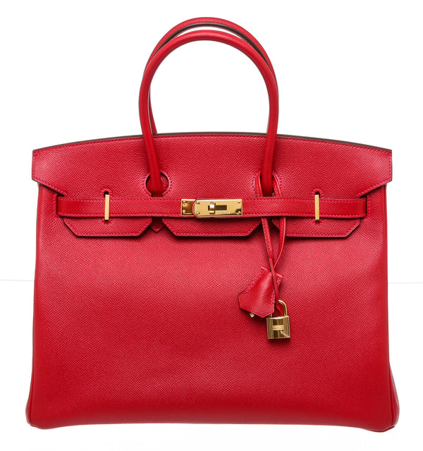 Hermes Red Epsom Leather Birkin 35cm GHW Bag