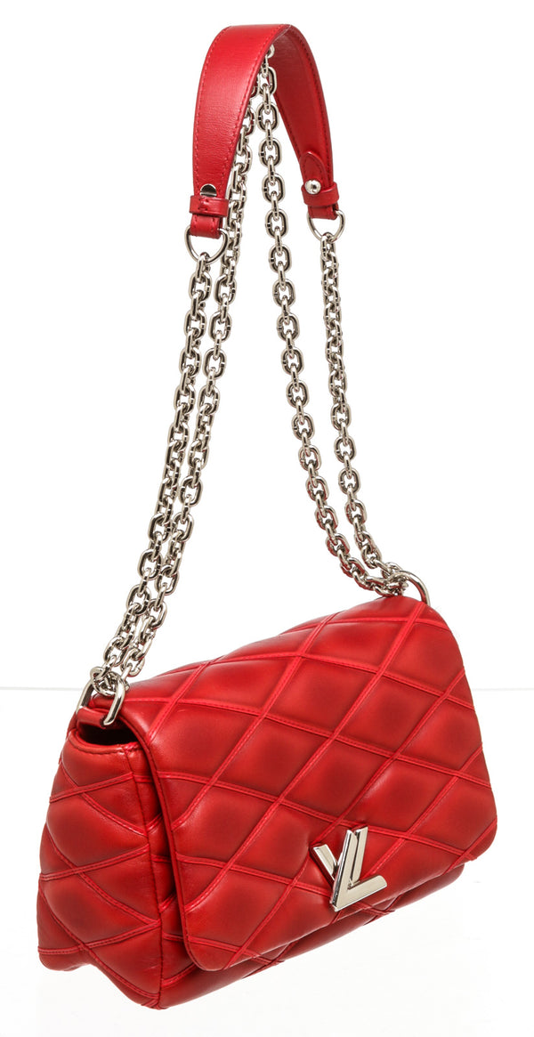 Louis Vuitton Red Leather GO-14 Melletage MM Silver Hardware