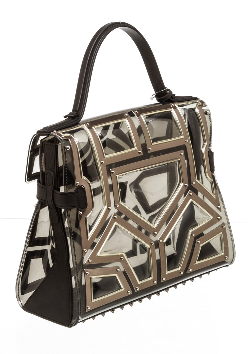 Delvaux Black & Silver Clear Gladiator Bag