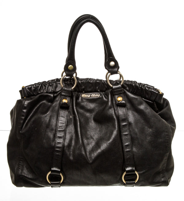 Miu Miu Black Leather Ruched Tote Bag