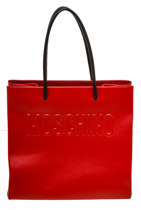 Moschino Red Leather Logo Shopper Tote Bag