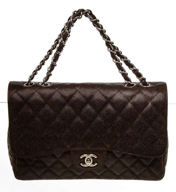 Chanel Brown Caviar Leather Jumbo Classic Flap Bag SHW