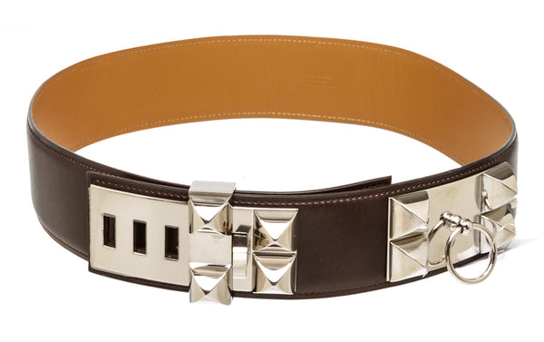 Hermes Brown Leather CDC Belt Silver Hardware