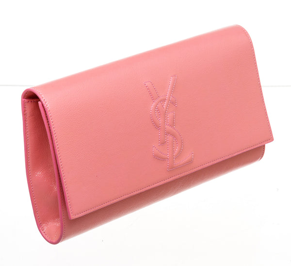 Saint Laurent Pink Belle Du Jour Patent Leather Clutch